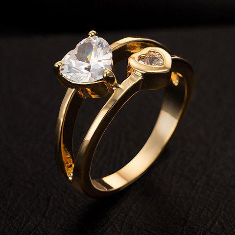 Fashion Exquisite Rhinestone Heart Shape Two-Layered Ring For Women