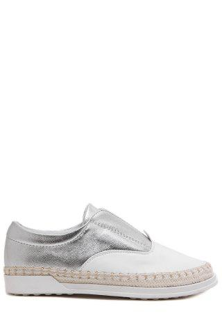 Shop Leisure Weaving and Elastic Design Flat Shoes For Women - 35 SILVER Mobile