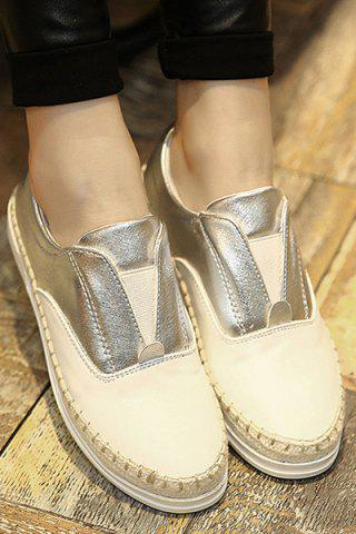 Unique Leisure Weaving and Elastic Design Flat Shoes For Women - 35 SILVER Mobile