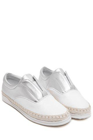Fashion Leisure Weaving and Elastic Design Flat Shoes For Women - 35 SILVER Mobile