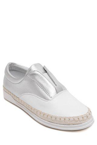 Cheap Leisure Weaving and Elastic Design Flat Shoes For Women - 35 SILVER Mobile