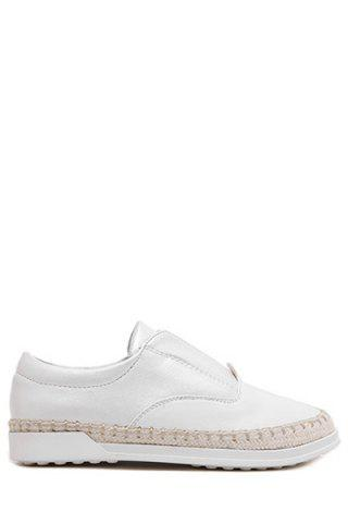 Unique Casual Weaving and Elastic Design Flat Shoes For Women - 37 WHITE Mobile