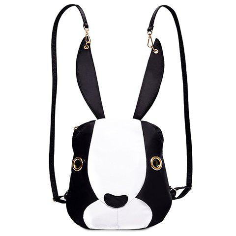 Discount Cute Bunny Shape and Color Block Design Satchel For Women WHITE AND BLACK