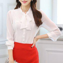 Elegant Bow Collar White Long Sleeve Chiffon Blouse For Women