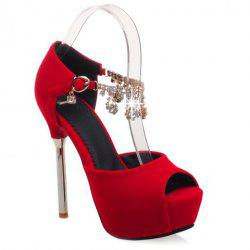 Fashionable Rhinestones and Stiletto Heel Design Peep Toe Shoes For Women