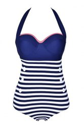 Halter Buttoned One-Piece Striped High Waisted Swimsuit