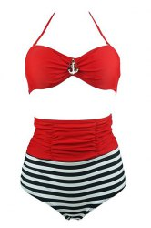 High Waisted Striped Bikini Swimwear With Halter Top -