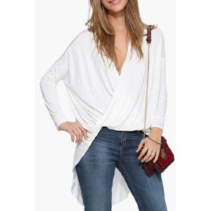 Trendy Long Sleeve Draped Uneven Hem Women's T-Shirt