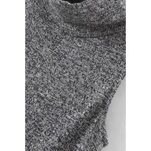 Fashion Turtleneck Sleeveless Knitted Gray Women's Playsuit -