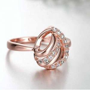Romantic Rhinestoned Hollow Out Valentine's Day Gift Ring For Women -