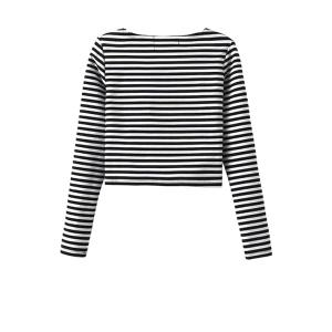 Stylish Round Neck Long Sleeve Striped Overlap Women's Crop Top -