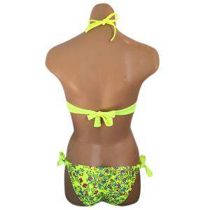 Sexy Halter Neck Tiny Floral Print Rhinestone Embellished Bikini Set For Women -