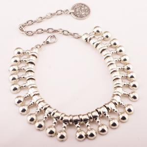 Punk Ball Drop Tassel Coin Beaded Anklets - SILVER