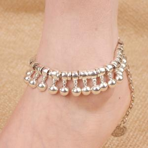 Punk Ball Drop Tassel Coin Beaded Anklets - Silver - 8