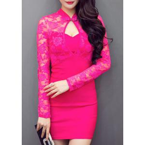 Sexy Mandarin Collar Long Sleeve Cut Out Women's Dress