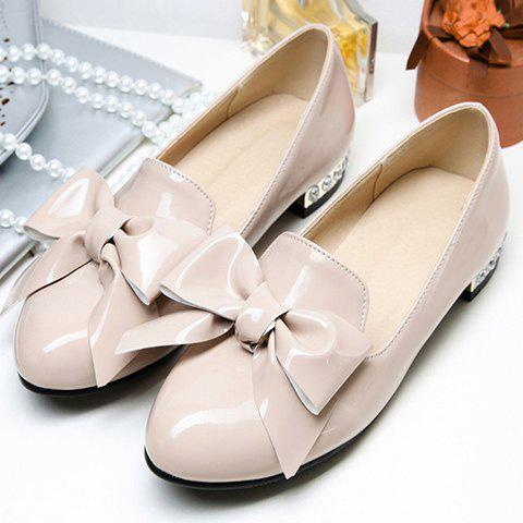 Hot Fashion Bowknot and Patent Leather Design Flat Shoes For Women - 39 APRICOT Mobile