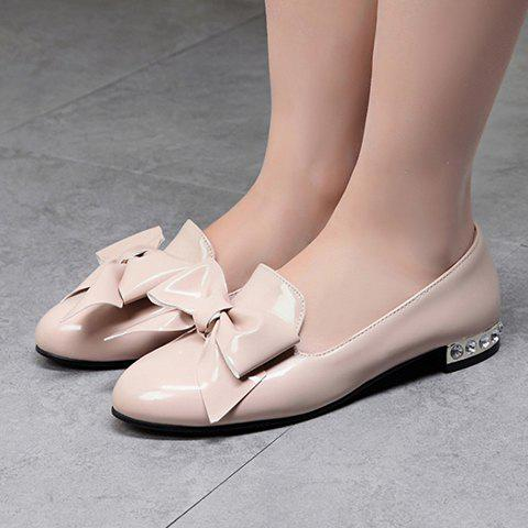 Shop Fashion Bowknot and Patent Leather Design Flat Shoes For Women - 39 APRICOT Mobile