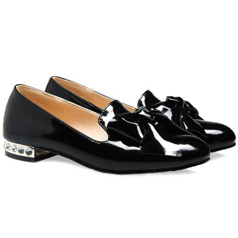 Shops Fashion Bowknot and Patent Leather Design Flat Shoes For Women - 38 BLACK Mobile
