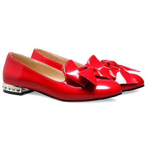 Trendy Fashion Bowknot and Patent Leather Design Flat Shoes For Women - 34 RED Mobile