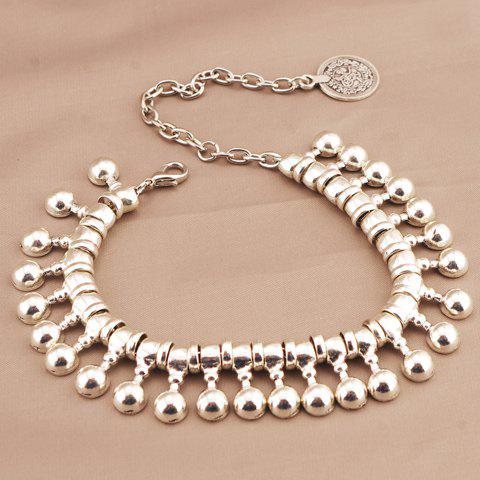 Store Punk Ball Drop Tassel Coin Beaded Anklets - SILVER  Mobile