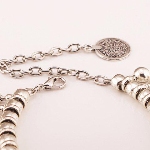 Hot Punk Ball Drop Tassel Coin Beaded Anklets - SILVER  Mobile