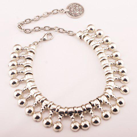 Chic Punk Ball Drop Tassel Coin Beaded Anklets - SILVER  Mobile