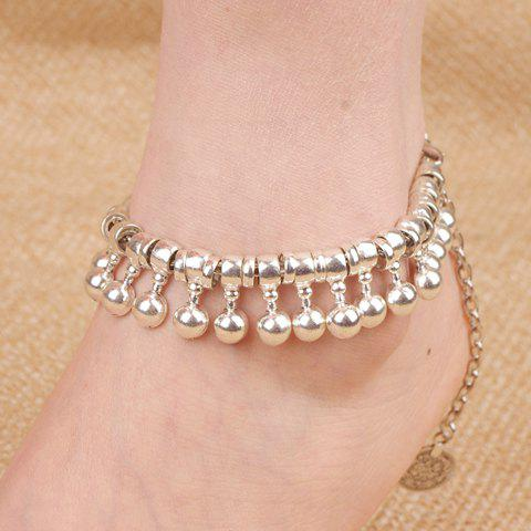 Sale Punk Ball Drop Tassel Coin Beaded Anklets - SILVER  Mobile