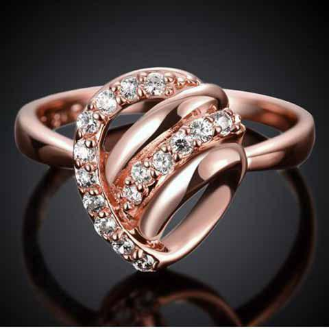 Fashion Romantic Rhinestoned Hollow Out Valentine's Day Gift Ring For Women