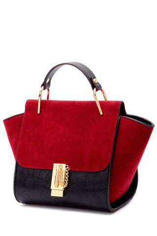 Trendy Metal and Color Block Design Tote Bag For Women - Red With Black
