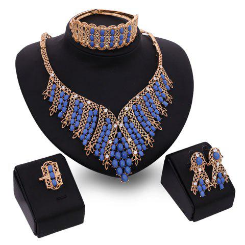 Buy A Suit of Charming Oval Bead Tassel Necklace Bracelet Ring and Earrings For Women