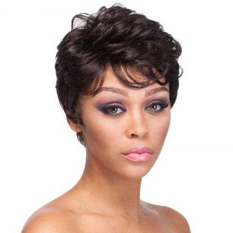 Shops Spiffy Short Side Bang Shaggy Curly Natural Black Synthetic Wig For Women