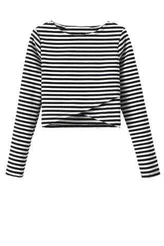 Fancy Stylish Round Neck Long Sleeve Striped Overlap Women's Crop Top
