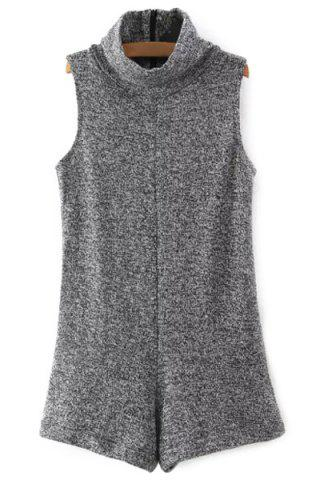 Latest Fashion Turtleneck Sleeveless Knitted Gray Women's Playsuit