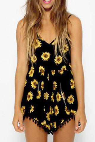 Sexy Spaghetti Straps Sunflower Print Waisted Romper For Women - Black - L