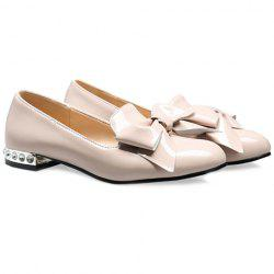Fashion Bowknot and Patent Leather Design Flat Shoes For Women - APRICOT