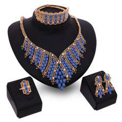 A Suit of Charming Oval Bead Tassel Necklace Bracelet Ring and Earrings For Women -