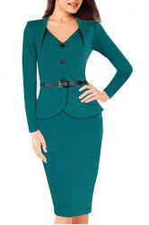 OL Style Sweetheart Neck Solid Color Long Sleeve Dress For Women - BLUE