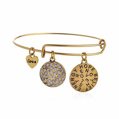 Rhinestoned Round Heart Letter BraceletJEWELRY<br><br>Color: GOLDEN; Item Type: Charm Bracelet; Gender: For Women; Chain Type: Cable-wire Chain; Material: Rhinestone; Metal Type: Alloy; Style: Romantic; Shape/Pattern: Round; Length: 6CM(Diameter); Weight: 0.035KG; Package Contents: 1 x Bracelet;