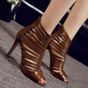 Fashionable Hollow Out and PU Leather Design Sandals For Women - COFFEE 40
