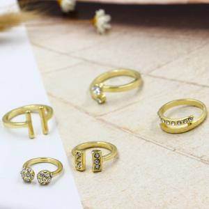 A Suit of Chic Rhinestone Geometric Cuff Rings For Women - GOLDEN ONE-SIZE