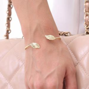 Leaf Shape Alloy Cuff Bracelet -