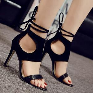Simple Hollow Out and Lace-Up Design Sandals For Women -