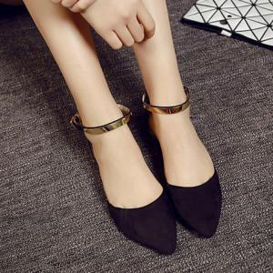 Sweet Pointed Toe and Two-Piece Design Flat Shoes For Women -