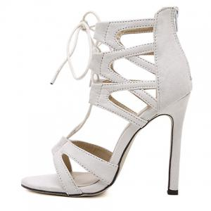 Stylish Lace-Up and Zip Design Sandals For Women -