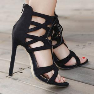 Stylish Lace-Up and Zip Design Sandals For Women - BLACK 35