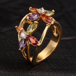 Rhinestone Floral Hollow Out Ring - GOLDEN ONE-SIZE