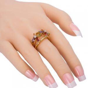 Rhinestone Floral Hollow Out Ring -