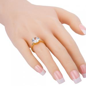 Gold Plated Rhinestone Alloy Ring - GOLDEN ONE-SIZE