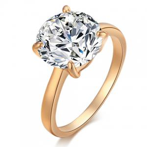 Gold Plated Rhinestone Alloy Ring - Golden - One-size