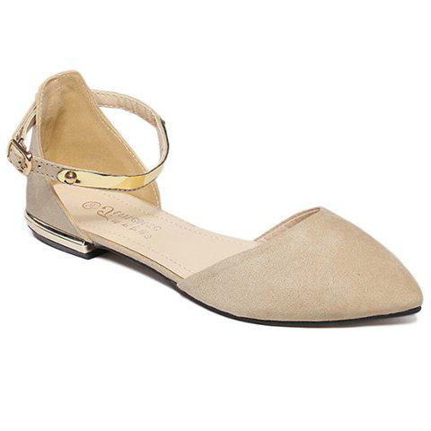 Sale Sweet Pointed Toe and Two-Piece Design Flat Shoes For Women - 40 APRICOT Mobile